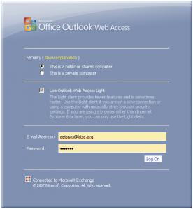 LCISD email login screen