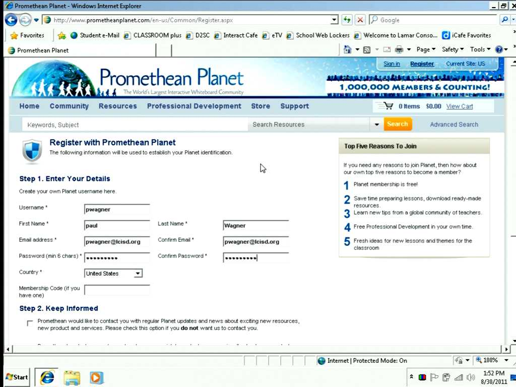 Creating a Promethean Planet Account