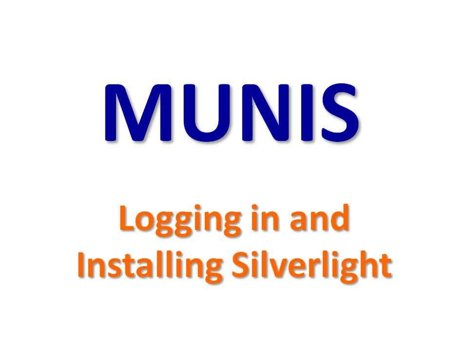 MUNIS - Installing Silverlight Plugin
