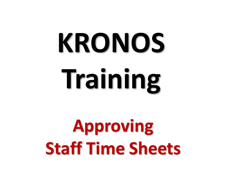 Approving Staff Time Sheets