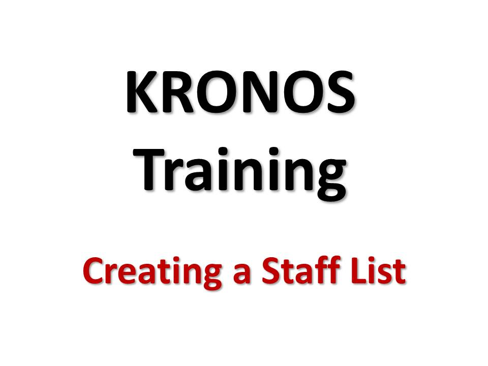 Creating Staff Lists